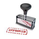 Approved Rubber Stamp. High detail approved stamp over white background stock illustration