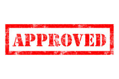 Approved rubber stamp. Approved stamp in red ink Stock Image