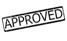 Approved rubber stamp. Sign. stamp approved in black over white background Stock Photos
