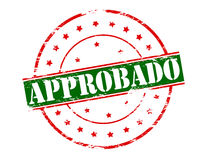Approved. Rubber stamp with word approved in Spanish language inside,  illustration Stock Photography