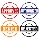 Approved rubber stamps. Rubber stamps of approved, authorized, denied and rejected Stock Image