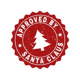 APPROVED BY SANTA CLAUS Scratched Stamp Seal with Fir-Tree royalty free illustration