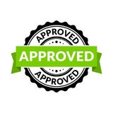 Approved seal stamp sign. Vector rubber round permission symbol for approval background.  royalty free illustration
