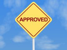 Approved sign. Approved road sign with blue sky and cloudscape background Royalty Free Stock Photography