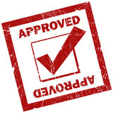 Approved stamp. Approved red square sign isolated over white royalty free illustration