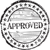 Approved stamp. Abstract grunge rubber stamp with the text approved Stock Photography