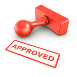 Approved stamp. 3d rendering of a rubber stamp with APPROVED in red ink Stock Photo
