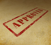 Approved stamp on grunge background Royalty Free Stock Photography