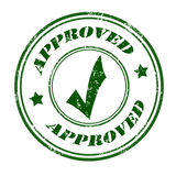 Approved stamp. Approved grunge rubber stamp green on white, vector illustration Stock Images