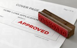 Approved Stamp And Home Loan Application Form. A wooden stamp with embossed text stamping the word approved on a home loan loan application form - 3D render stock illustration