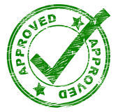 Approved Stamp Indicates All Right And O.K. Royalty Free Stock Photos