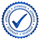 Approved stamp. Approved rubber stamp blue grunge isolated on white background stock illustration