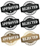 Approved Stamp Seal Rejected Stamp Seal Logo. Vector Grunge Black Gold Official Document Pass Fail royalty free illustration
