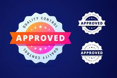 Approved stamp with three color variants - colorfull and simple Stock Images