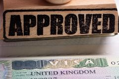 Approved Stamp And UK Visa royalty free stock photo