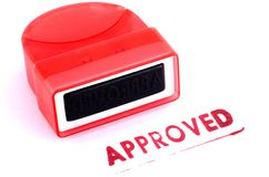 Approved stamp. On white background stock photos