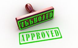 Approved stamp. On white background, 3D images Royalty Free Stock Photography
