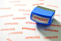 Approved stamp. On white paper royalty free stock image