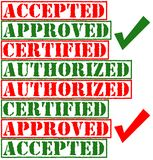 Approved Stamps. Accepted, approved, certified and authorized stamps in 2 colors Royalty Free Stock Image