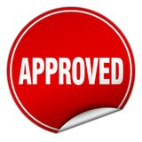 Approved sticker. Approved round sticker isolated on wite background. approved Stock Photography