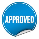 Approved sticker. Approved round sticker isolated on wite background. approved Stock Images