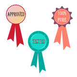Approved tested 100% pure badge stamp. Vector isolated on white background. Ideal for packaging, business, marketing. EPS file available Stock Image