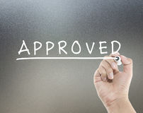 Approved text on glass board stock illustration