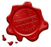 Approved text on red wax seal Royalty Free Stock Image