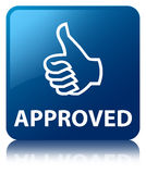 Approved (thumbs up icon) blue square button Royalty Free Stock Photo