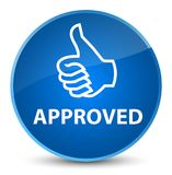 Approved (thumbs up icon) elegant blue round button Royalty Free Stock Images