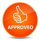 Approved (thumbs up icon) elegant orange round button Stock Photography