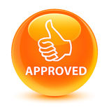 Approved (thumbs up icon) glassy orange round button Royalty Free Stock Image