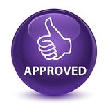 Approved (thumbs up icon) glassy purple round button. Approved (thumbs up icon) isolated on glassy purple round button abstract illustration royalty free illustration