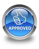 Approved (thumbs up icon) glossy blue round button. Approved (thumbs up icon) isolated on glossy blue round button abstract illustration royalty free illustration