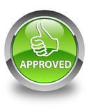 Approved (thumbs up icon) glossy green round button Stock Image