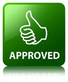 Approved (thumbs up icon) green square button Royalty Free Stock Images