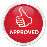 Approved (thumbs up icon) premium red round button Stock Images