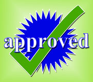Approved Tick Indicates Approval Checkmark And Confirmed Stock Photo