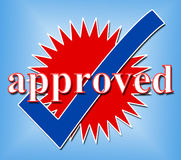 Approved Tick Indicates Check Yes And Assured Stock Photography