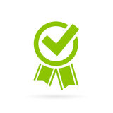 Approved tick vector certificate icon. Isolated on white background stock illustration