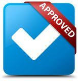 Approved (validate icon) cyan blue square button red ribbon in c Royalty Free Stock Photo