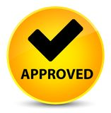 Approved (validate icon) elegant yellow round button Stock Photography
