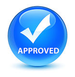 Approved (validate icon) glassy cyan blue round button Royalty Free Stock Images