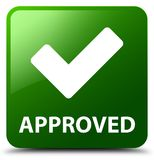Approved (validate icon) green square button Stock Images