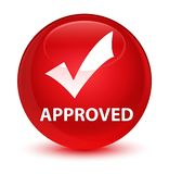 Approved (validate icon) glassy red round button Royalty Free Stock Photo