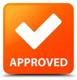 Approved (validate icon) orange square button Royalty Free Stock Photos