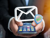 Approved and verified Email symbol displayed on a futuristic int. View of a Approved and verified Email symbol displayed on a futuristic interface - Message and Royalty Free Stock Images