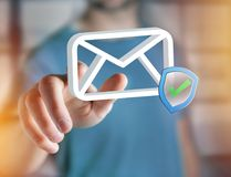 Approved and verified Email symbol displayed on a futuristic int. View of a Approved and verified Email symbol displayed on a futuristic interface - Message and Stock Photography