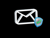 Approved and verified Email symbol displayed on a futuristic int. View of a Approved and verified Email symbol displayed on a futuristic interface - Message and Royalty Free Stock Image