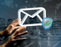Approved and verified Email symbol displayed on a futuristic int. View of a Approved and verified Email symbol displayed on a futuristic interface - Message and Royalty Free Stock Photography